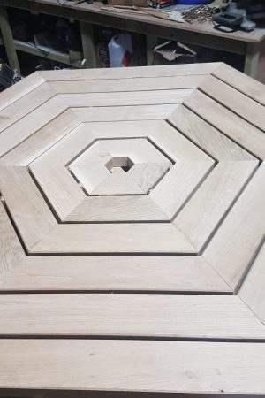 Hexagonal oak joinery table