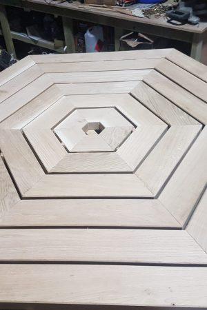 Hexagonal oak joinery table